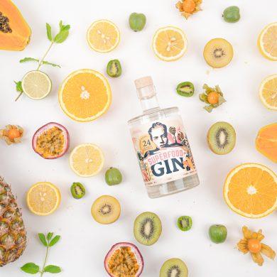 Arrangement mit diversen Gin Botanicals